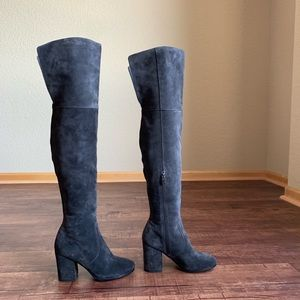 Via Spiga gray sueded leather over the knee boots